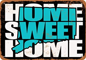 "Lplpol Home Sweet Home Connecticut Black Teal Aluminum Sign Indoor Or Outdoor Vintage Metal Sign 12"" x 18"""