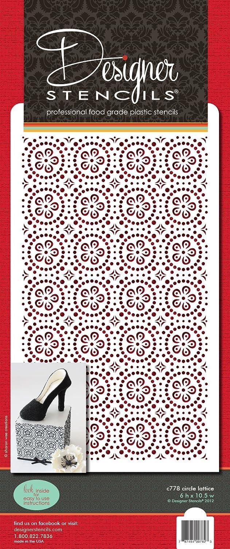 Designer Stencils C778 Circle Lattice Cake Stencil Beige//semi-Transparent