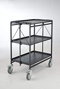 Master Grade Heavy Duty Folding Service Utility Cart Black 3-Shelf 500 lbs Capacity Collapsible with Wheels