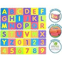 Tibelara Grande Tappeto Puzzle Bambini | Extra Morbido | Numeri E Lettere Alfabeto | Schiuma EVA Atossica - Certificato CE | Contenitore Incluso | Tappeto Da Gioco Per La Cameretta | Tappetino Puzzle