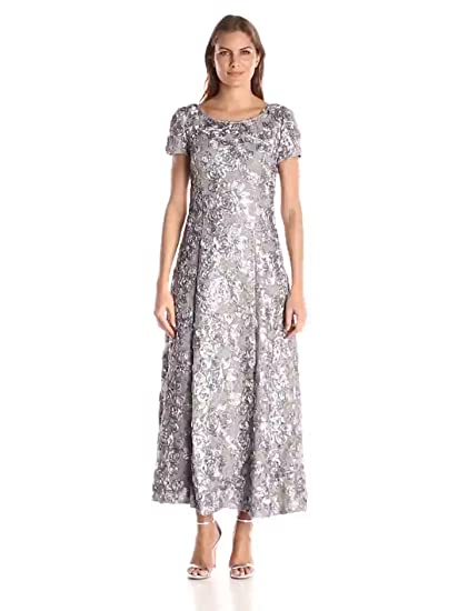 f97953c6ff24a Alex Evenings Women's 6 Long A-Line Rosette Dress with Short Sleeves Sequin  Detail,