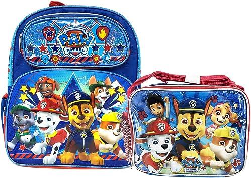 Little Boys Paw Patrol Cartoon School Backpack Lunch Box Book Bag Kids Childrens