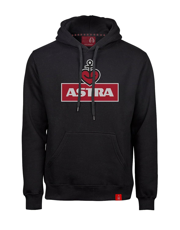 ASTRA Hoodie Herzanker Unisex, Sweater in Schwarz, sportlicher Kapuzen-Pullover mit Logo-Print auf Brust & Kapuze, Pulli für Männer & Frauen