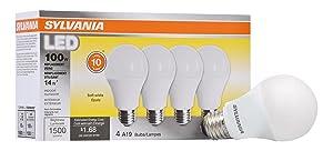 Sylvania Home Lighting 78101 Sylvania Non-Dimmable Led Light Bulb, 14 W, 120 V, 1500 Lumens, 2700 K, CRI 80, 2.375 in Dia X 4.29 in L, Soft White, 4 Piece