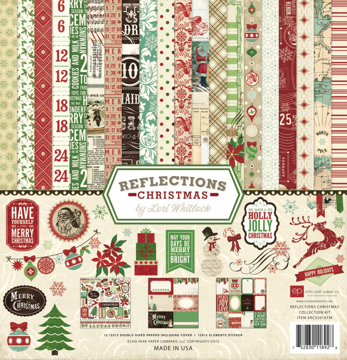 Echo Park Paper Company Reflections Christmas Scrapbooking Collection Kit RC55016TM