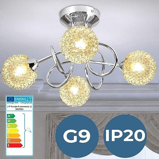 Lámpara de Techo | Ø36cm, 4 flama, G9, Redondo, A++, IP20, Moderna, con Esferasde Alambre Decorativas | Luz de Techo, Plafón | para Sala de Estar, ...