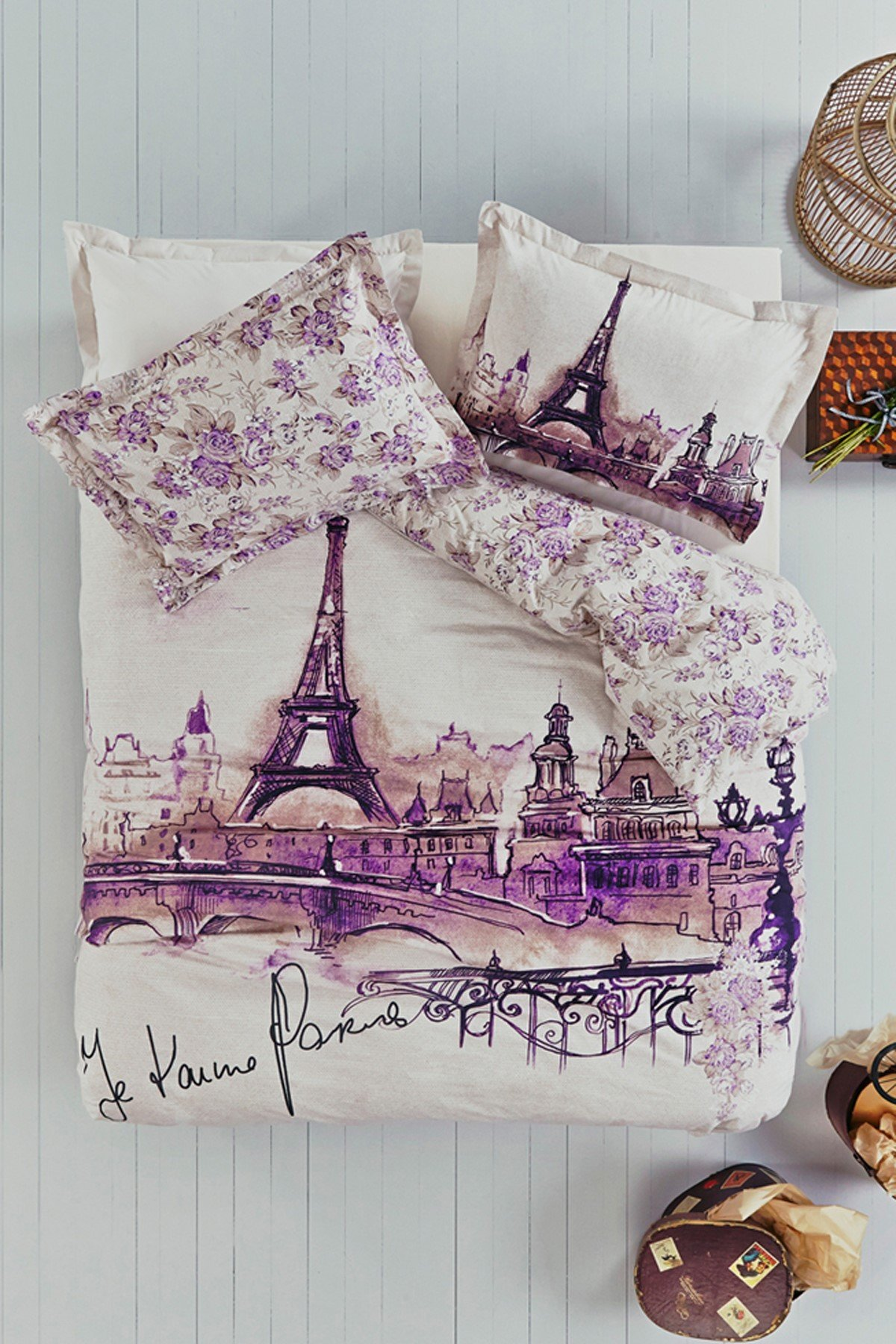 b208f99382415f Galleon - 100% Turkish Cotton Ranforce Paris Eiffel Tower Theme Themed  Amour Floral Full Double Queen Size Quilt Duvet Cover Set Bedding 4 Pcs!!  Made In ...