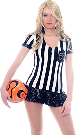 L034 - Disfraz para mujer disfraz vestido: Árbitro de fútbol para ...