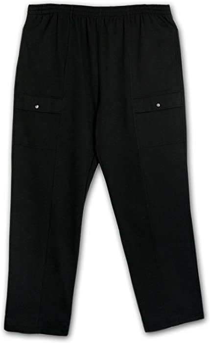 19e82e170b LD Sport Big and Tall French Terry Fully Elastic Jersey Cargo Pant (Black  3X)