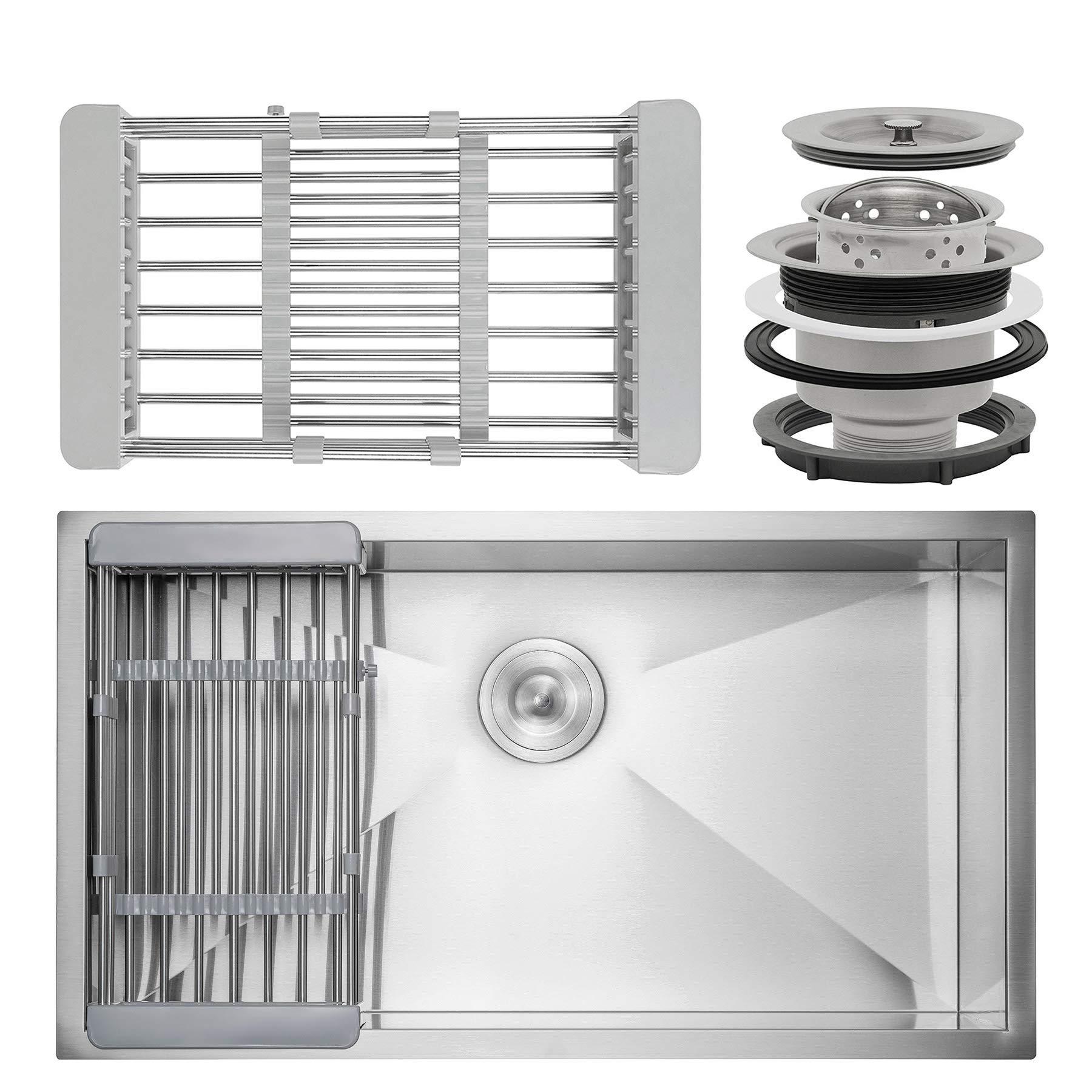 Firebird 30'' x 18'' x 9'' Under Mount Handmade Stainless Steel Single Bowl Kitchen Sink w/ Drain Strainer Kit Adjustable Tray