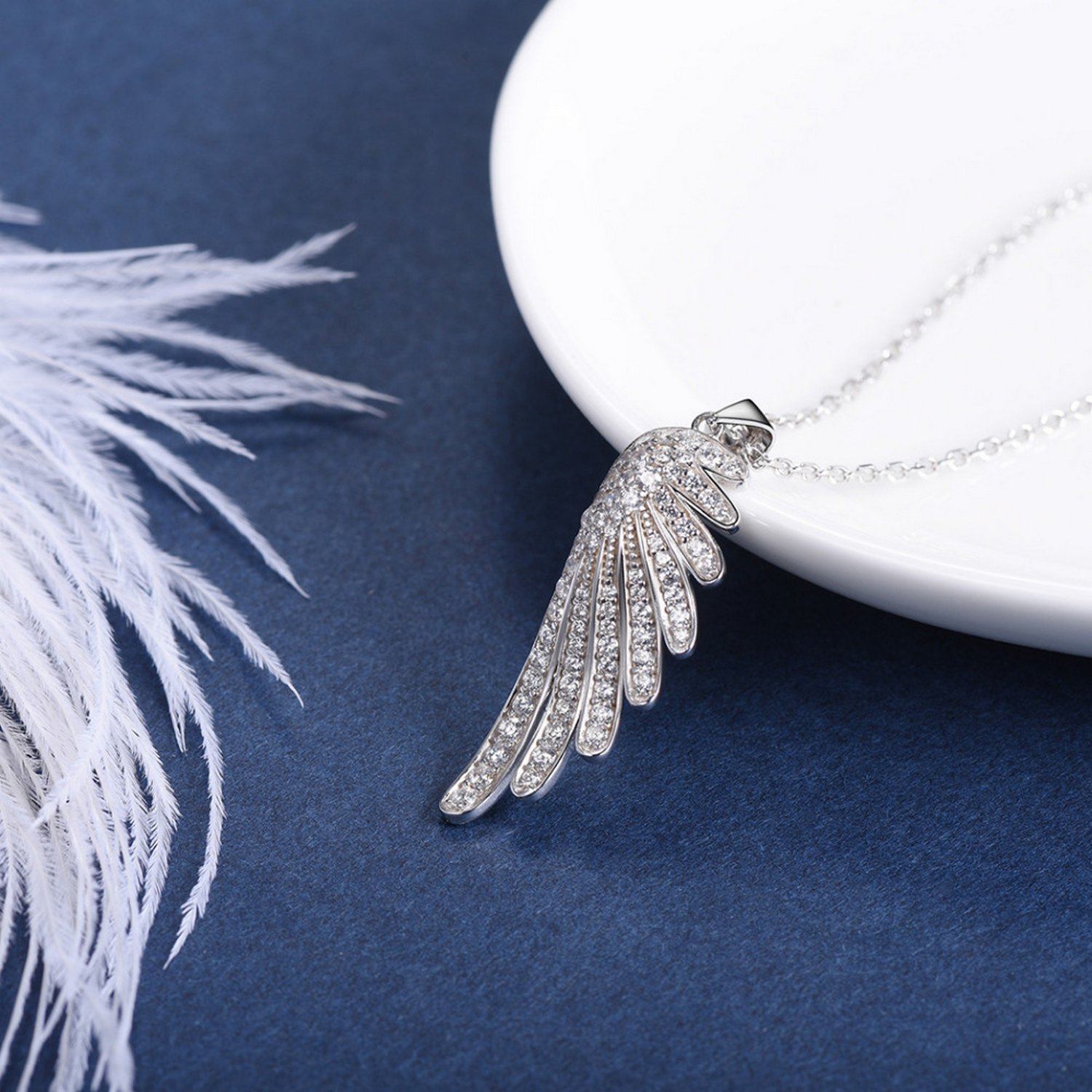 CS-DB Jewelry Silver Cubic Zirconia Angel Wing Jewelry Chain Charm Pendants Necklaces