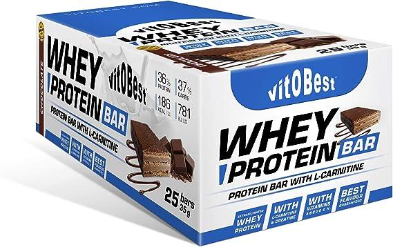WHEY PROTEIN BAR 35 g CHOCO (25 Uds.) - Suplementos Alimentación y Suplementos Deportivos - Vitobest