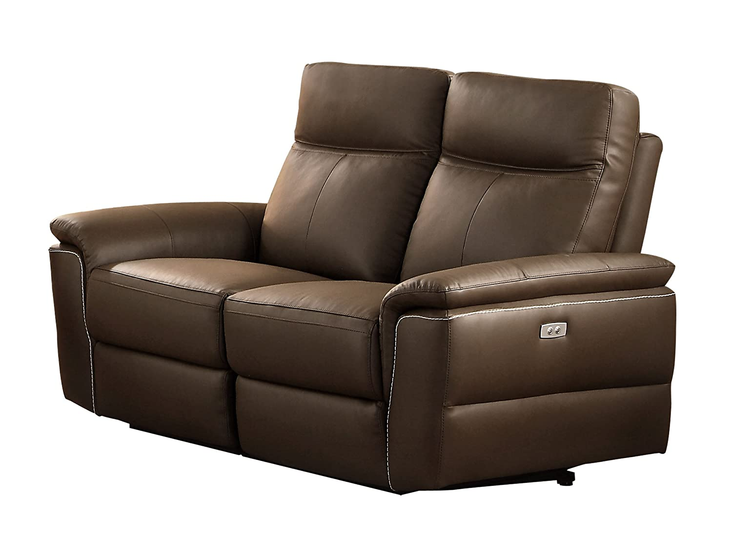 Homelegance Olympia Modern Design Power Reclining Loveseat Top Grain Genuine Leather Match