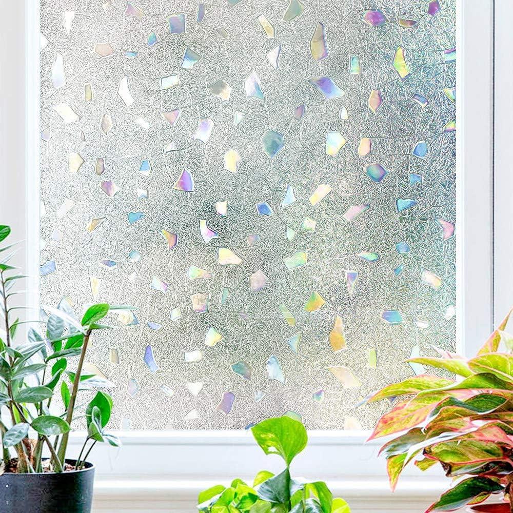 Bluting Pellicola per Finestra Niente Colla,3D Anti-UV Pellicola a Colori Protezione,Decorazione Adesiva Opaca per Finestre o Porte in Vetro per la Privacy,White-45/×100cm//17/×39in