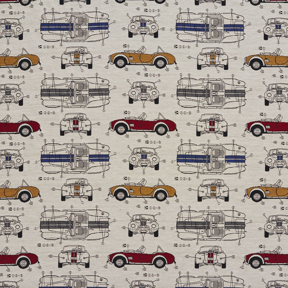 Amazon.com: Automobile Vintage Race Car Classic Pattern Damask Upholstery  Fabric by the yard