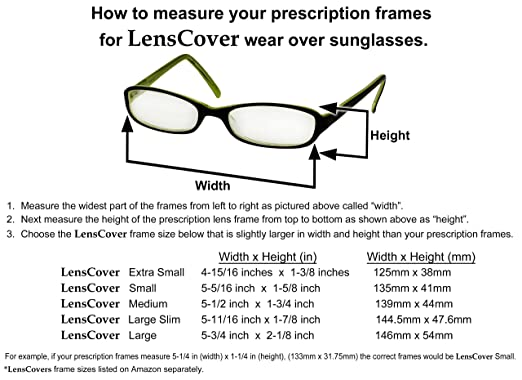 how to measure for sunglasses cdka  Amazoncom: LensCovers Sunglasses Wear Over Prescription Glasses Small:  Clothing