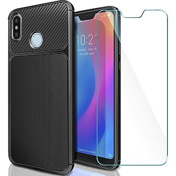 AROYI Funda Xiaomi Mi A2 Lite + Cristal Templado, Xiaomi Redmi 6 Pro Carcasa & Protector de Pantalla 9H Dureza + Soft TPU Silicone Back Protective ...