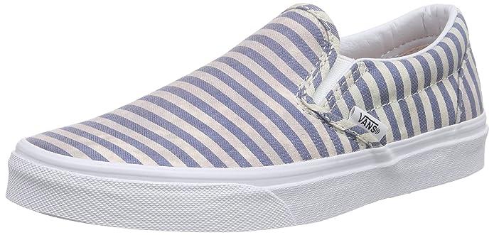 Vans Classic Slip-On Unisex Erwachsene Blau Weiß gestreift (Stripes/Navy)