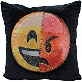 Reversible Sequin Mermaid Pillow Case, USONG Emoji Changeable Face Cushion Cover Pillow Cases Decorative Pillowcase for Sofa Home Decor DIY (Happy and angry)