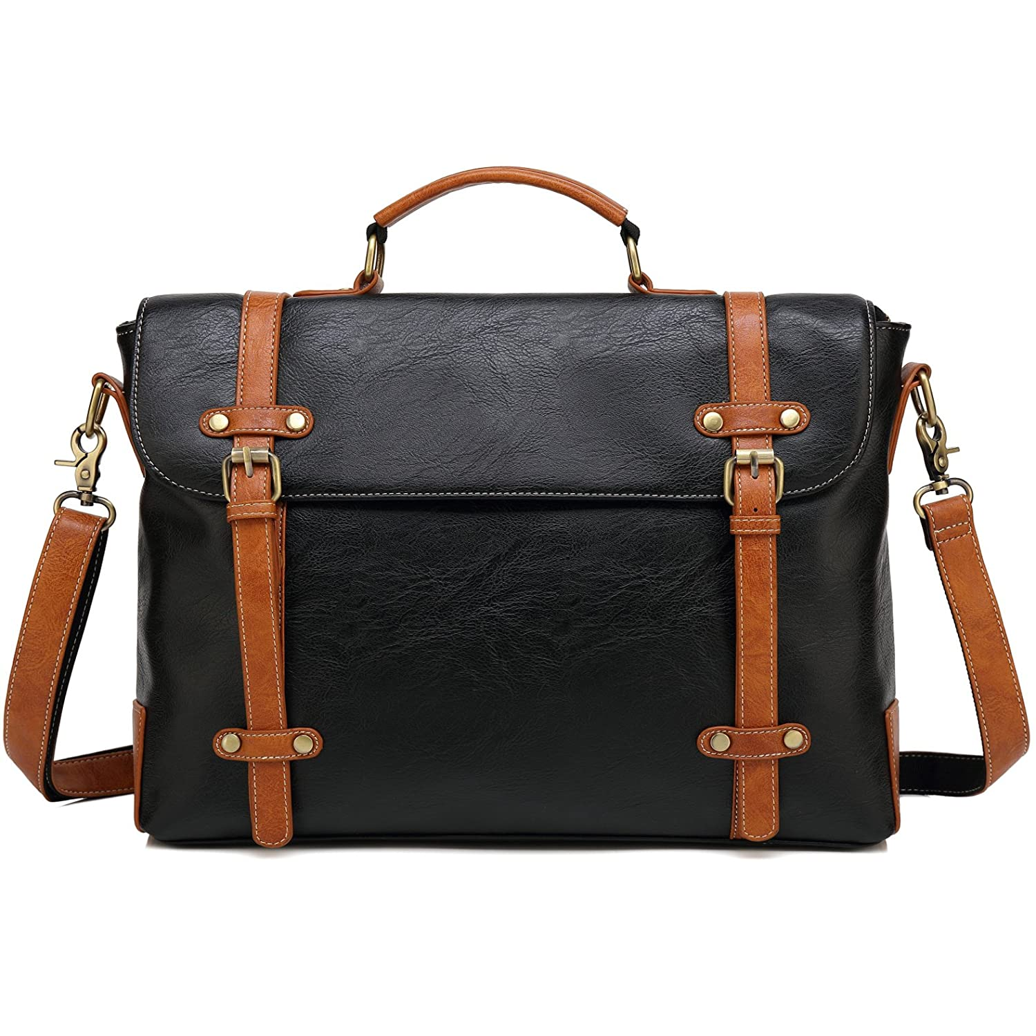 Kenox Vintage Pu Leather Laptop Briefcase Messenger Bag Satchel Shoulder Bag Kbag0589-black