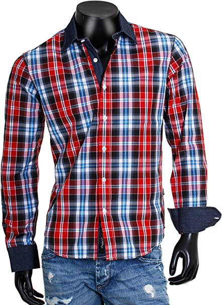Carisma Contraste cuadros Hombre Tiempo Libre Camisa Slimfit entallado cuadros leñador Look aspecto manga larga 8175 de U