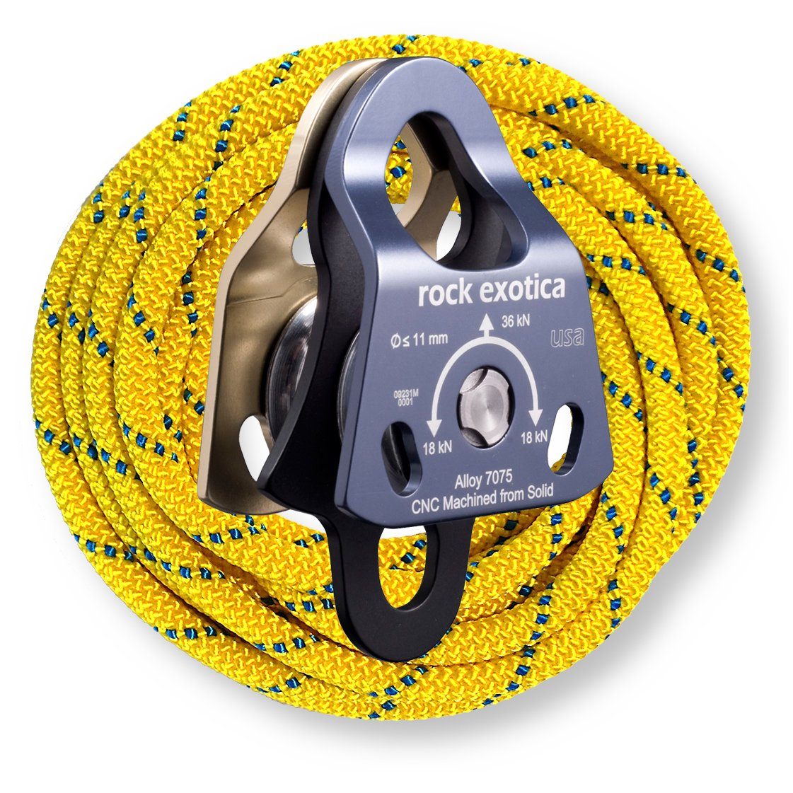 Rock Exotica Mini Machined Double Pulley P21D with 10 Feet of OPG 8mm Yellow Prusik Cord