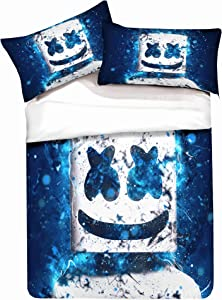 Paixide 3 Pcs Bedding Sets for Adult/Kids-3D DJ Marshmallow Duvet Cover with 100% Microfiber, 1 Duvet Cover 2 Pillowcases, Queen