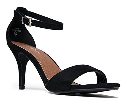 Amazon.com | J. Adams Low Ankle Strap Kitten Heel - Essential Mid ...