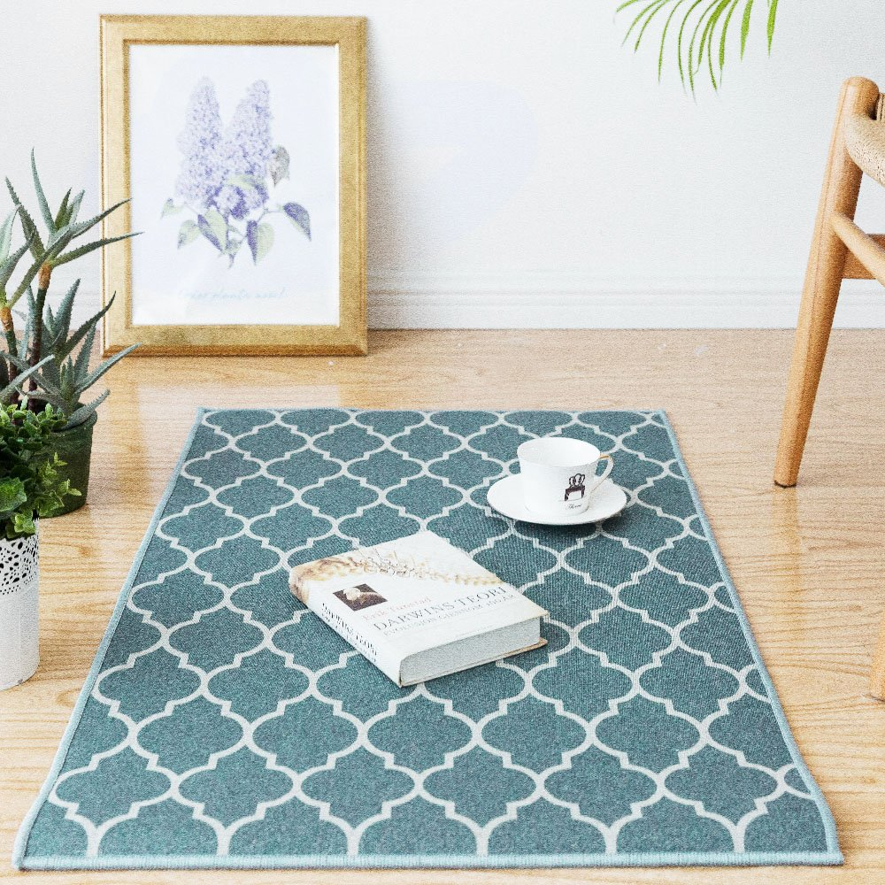 Trellis Area Rug Doormat Runner Rug 2'x3'3 Blue Moroccan Tile Floorcover Indoor Outdoor Mat CKNY HOME FASHION JCRGMC-2x33C03