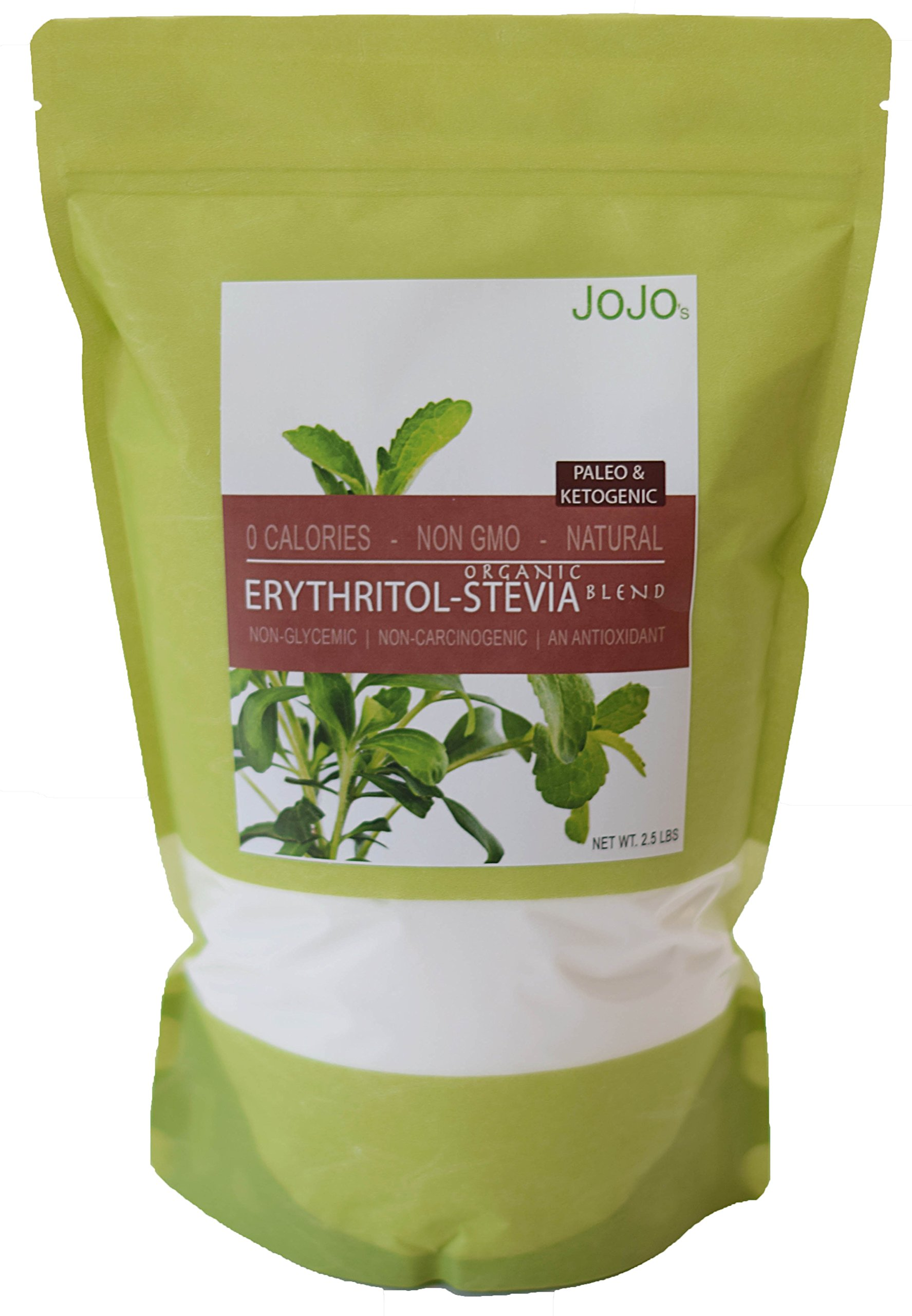 Erythritol Stevia Blend 2.5lb Organic Stevia Paleo Ketogenic Sweetener, 226 servings. Perfect for baking sugar free recipes + 5 Sugar Free Recipes Included With Your Order by JOJO's Chocolate