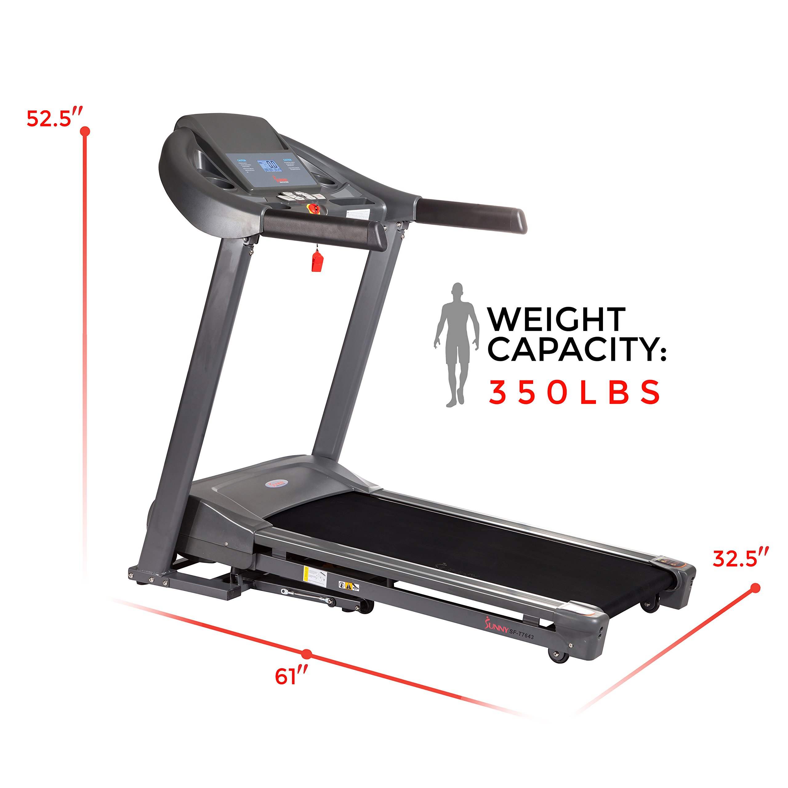 Sunny Health & Fitness T7643 Heavy Duty Walking Treadmill with 350 lb Capacity Heavy Duty Walking Treadmill by Sunny Health & Fitness (Image #4)