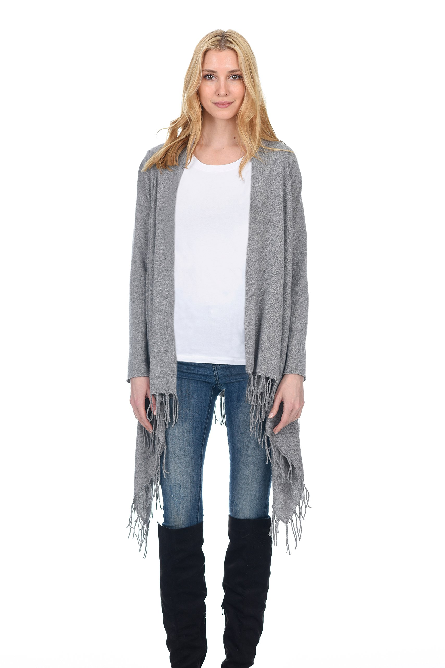 State Fusio Women's Wool Cashmere Casual Knitted Poncho Cardigan Shawl Removable Fringe Heather Grey