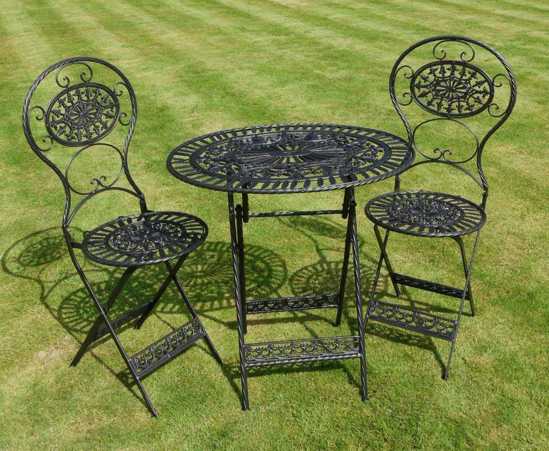 Black wrought iron 3 piece bistro style garden patio furniture set amazon co uk garden outdoors
