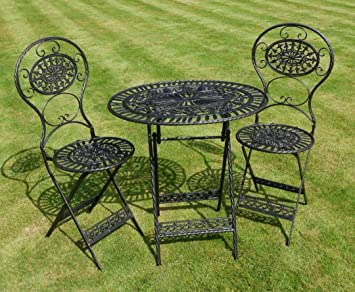 Wrought Iron Garden Furniture Uk Black wrought iron 3 piece bistro style garden patio furniture set black wrought iron 3 piece bistro style garden patio furniture set workwithnaturefo