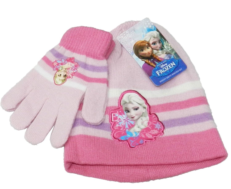Official Girls Frozen Elsa & Anna Beanie Hat & Glove Set Age 4-10 Years-780-198 Dark Pink - Hat & Gloves 4-10 yeas