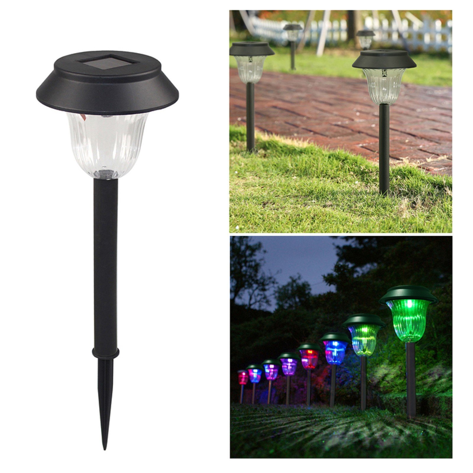 MZS Tec 2/4/6 Pack Led Solar Lights, Outdoor Pathway Garden Stake Light, 8-10 Lumens LED Lawn Walkway Lamp Path Yard Night Lights (6 Pack, Color Change)