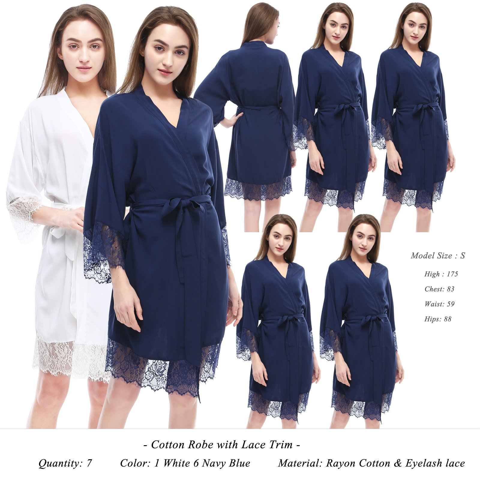 PROGULOVER Set Of 7 Women's Cotton Kimono Robe With Lace Trim For Bride and Bridesmaid Wedding Party Gift Dressing Gown