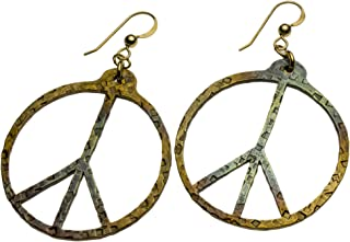 product image for Hand Hammered Peace Symbol Iridescent Earrings on French Hooks