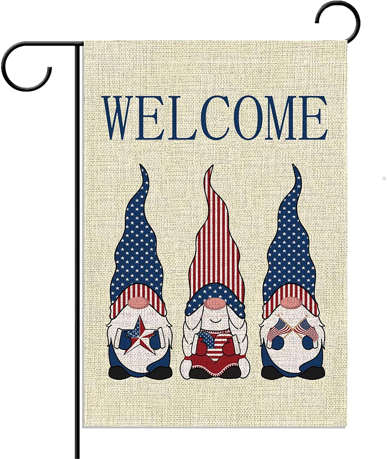 American Patriotic Gnome Garden Flag 4th of July&Independence Day&Memorial Day&Veterans Day&Flag Day Outside Outdoor Yard Lawn Decoration Welcome Sign