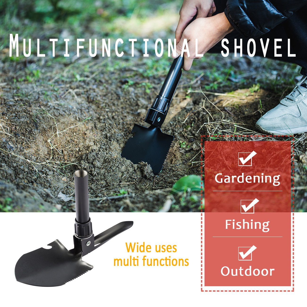 Overmont Folding Shovel - Outdoor Tool 16.3 Inches with Pick Steel Spade for Camping Hiking Backpacking Gardening Entrenching Fishing by Overmont (Image #6)