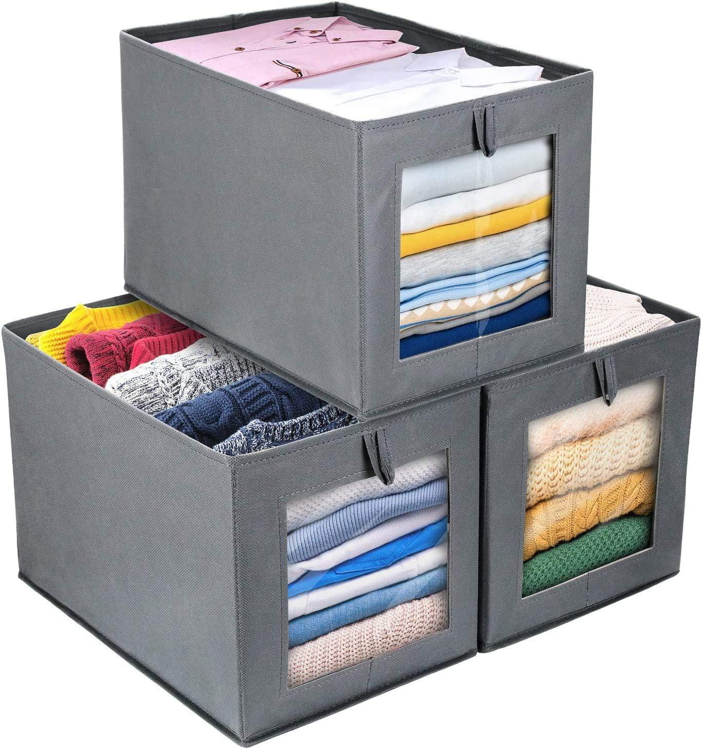 DIMJ Cajas de almacenaje Plegable, Conjunto de 3 Cajas Organizadoras Tela, Cubos de Almacenamiento con Ventana Transparente, Organizadores de Contenedore para Ropa Juguetes Libros