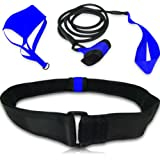 Swimming Belt - for Stationary Resistance Training / Endless Pool (with Drag Parachute and Elastic Tether) - Adult, Kid, Pro, Amateur use