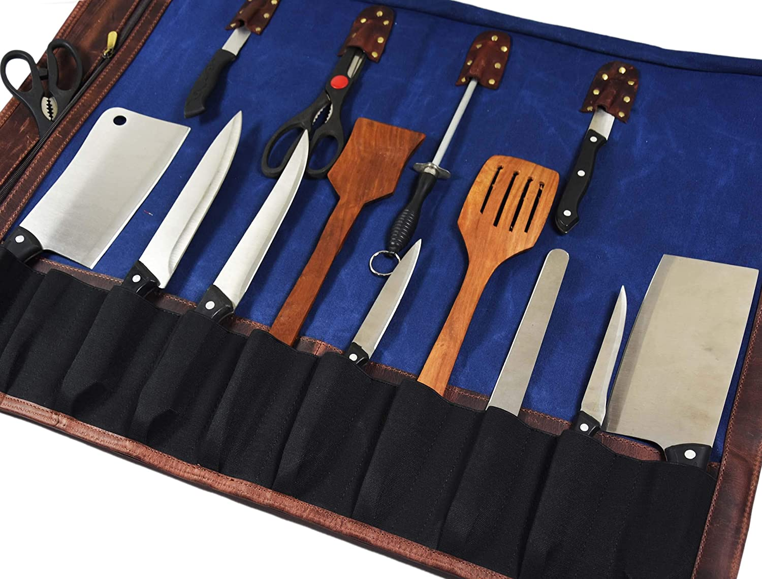 Leather Roll Knife Storage Bag Elastic And Expandable 10 Pockets