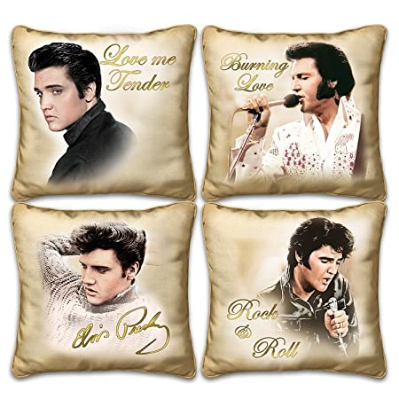 Elvis Presley Four Pillow Collection With Images by Photographer Bruce Emmett by The Bradford Exchange