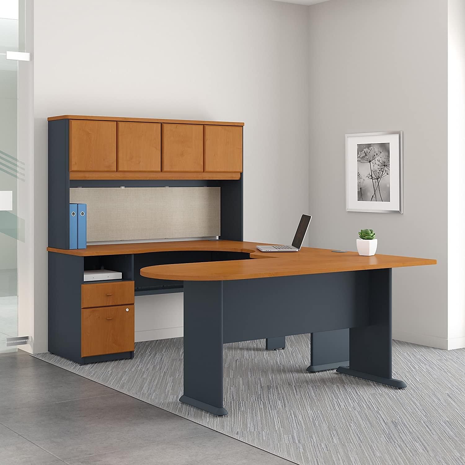 Series A U Shaped Desk with Hutch - Peninsula and Storage