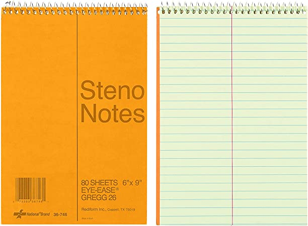 6 x 9 Inches 36746 Green Paper Gregg 80 Sheets NATIONAL Brown Board Cover Steno Notebook