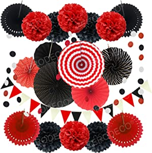 ZERODECO Party Decoration, 21 Pcs Black and Red Hanging Paper Fans Pom Poms Flowers, Garlands String Polka Dot and Triangle Bunting Flags for Minnie Mouse Birthday Parties Baby Showers Wedding