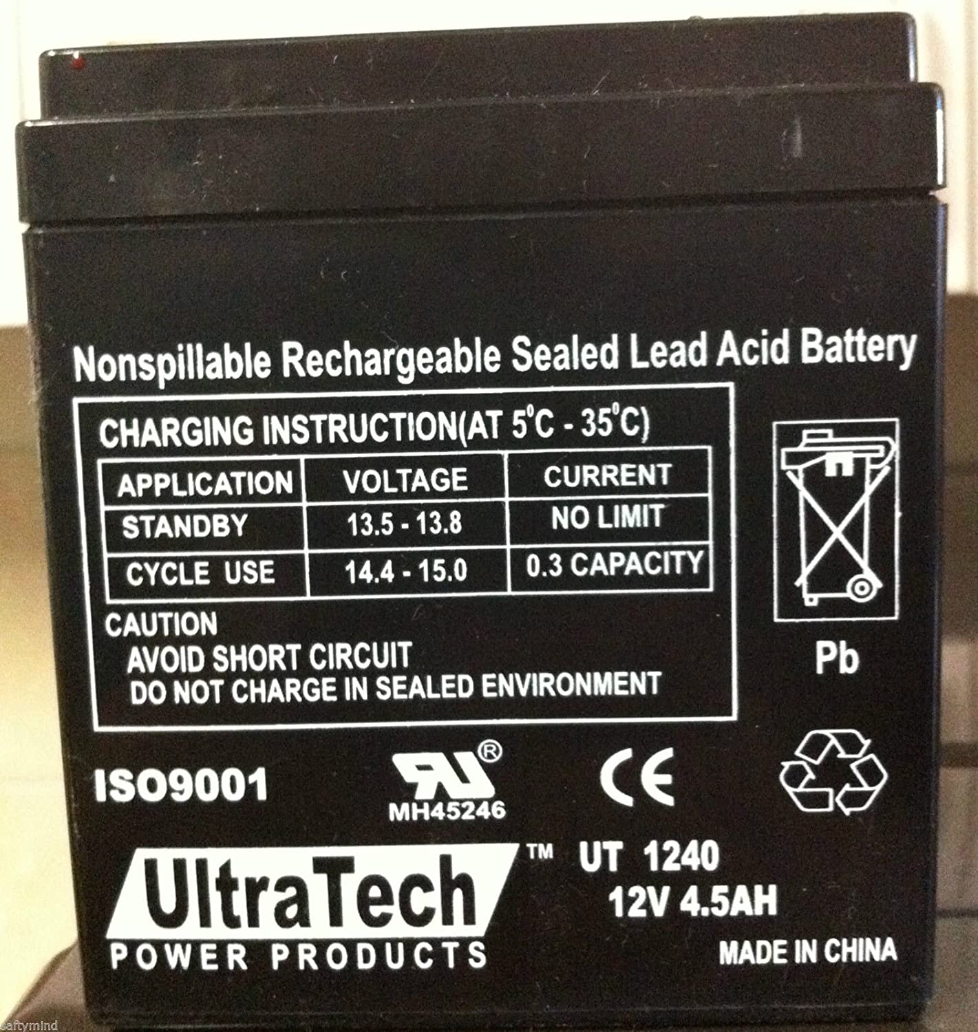 Ultratech Ut 1240 12v 45ah Sealed Lead Acid Alarm Nimh Battery Charger Circuit D Mohankumar Chargers Ut1240 Iso9001 Automotive