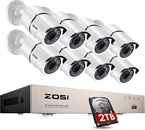 ZOSI 8CH Security Camera System with 2TB Hard Drive H.265 8CH 5MP Lite HD-TVI Video DVR Recorder with 8pcs HD 1920TVL 1080P Indoor Outdoor Home Surveillance Cameras with 120ft Long Night Vision