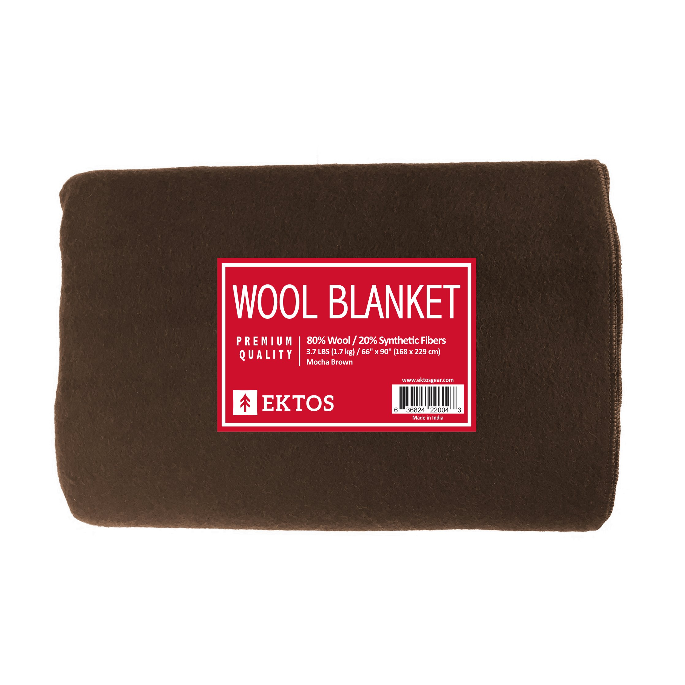 EKTOS 80% Wool Blanket, Brown, Light & Warm 3.7 lbs, Large Washable 66''x90'' Size, Perfect for Outdoor Camping, Survival & Emergency Preparedness Use by EKTOS (Image #2)